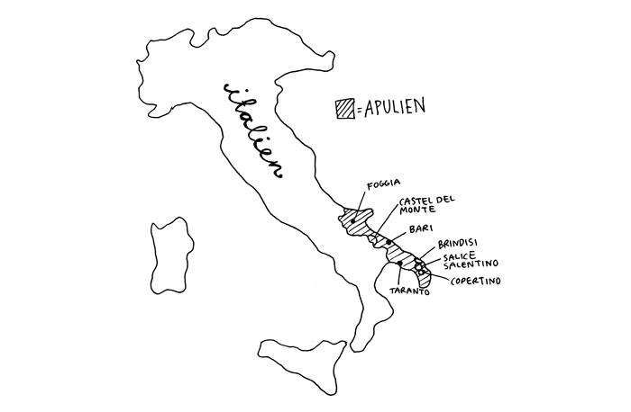 Karta Italien Regioner.Regionen Apulien Italiens Platta Vinklack Ett Hum Om Vin